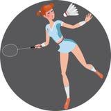 Muchacha que juega a bádminton Stock de ilustración