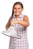 Muchacha que juega a bádminton Foto de archivo libre de regalías