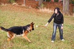 Muchacha que juega con el perro Fotos de archivo
