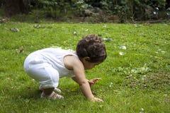 Muchacha que juega con las burbujas de jabón en el jardín Fotos de archivo libres de regalías