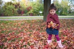 Muchacha que juega con las hojas Imagen de archivo libre de regalías