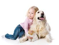 Muchacha que juega con los animales domésticos - perro y gato. Imágenes de archivo libres de regalías