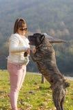 Muchacha que juega con su perro de Cane Corso en el parque foto de archivo