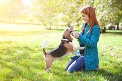 Muchacha que juega con su perro en parque del otoño Foto de archivo