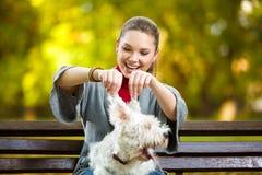 Muchacha que juega con su perro en parque del otoño Fotografía de archivo