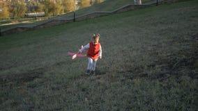 Muchacha que juega con un avión del juguete en el parque en un día soleado almacen de metraje de vídeo
