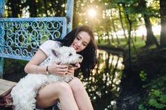 Muchacha que juega con un perro Foto de archivo libre de regalías