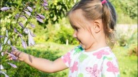 Muchacha que juega con una flor y que mira la cámara ojos grandes de un niño almacen de metraje de vídeo