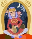 Muchacha que juega darbuka en el Ramadán