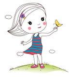 Muchacha que juega la mariposa ilustración del vector