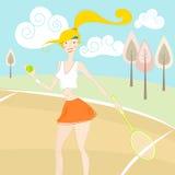 Muchacha que juega a tenis ilustración del vector