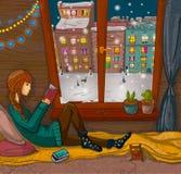 Muchacha que lee un libro cerca de la ventana Fotografía de archivo libre de regalías
