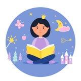 Muchacha que lee un libro Concepto de la fantasía y del cuento de hadas Diseño del vector imágenes de archivo libres de regalías