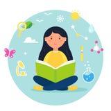 Muchacha que lee un libro Ejemplo del concepto del acercamiento de la ciencia, de la biología, del tronco y del vapor Diseño del  imagen de archivo libre de regalías