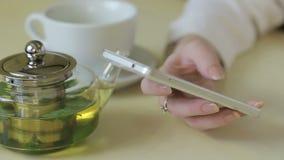 Muchacha que lee un teléfono en café almacen de metraje de vídeo