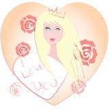 Muchacha que lleva una corona y rosas Imagen de archivo libre de regalías