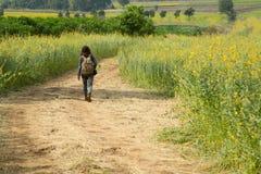 Muchacha que lleva una mochila que camina abajo en el camino solamente Fotos de archivo libres de regalías