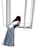 Muchacha que mira a través de ventana. stock de ilustración
