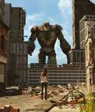 Muchacha que mira un robot en ciudad abandonada ilustración del vector