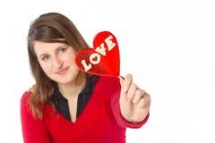 Muchacha que muestra amor Fotos de archivo libres de regalías