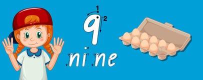 Muchacha que muestra cómo escribir el número nueve ilustración del vector