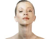 Muchacha que muestra diferencias del tan de la cara Imagen de archivo libre de regalías