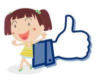 Muchacha que muestra el cuadro del pulgar libre illustration