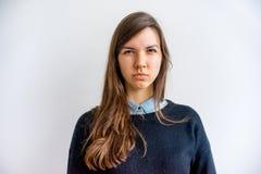 Muchacha que muestra emociones Imágenes de archivo libres de regalías