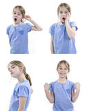 Muchacha que muestra diversas sensaciones Imagen de archivo