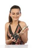 Muchacha que muestra su trofeo del oro Imágenes de archivo libres de regalías