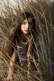Muchacha que oculta en la alta hierba Fotos de archivo libres de regalías