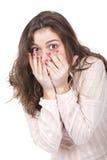 Muchacha que parece sorprendida Foto de archivo libre de regalías