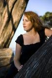 Muchacha que pasa por alto la bahía de monterey entre los árboles Fotografía de archivo libre de regalías