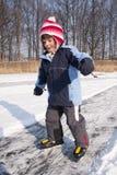 Muchacha que patina en el movimiento Imagen de archivo