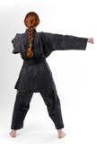 Muchacha que perfora en el kimono negro, vista posterior Fotografía de archivo