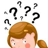 Muchacha que piensa con los signos de interrogación ilustración del vector