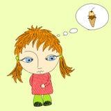 Muchacha que piensa en el helado stock de ilustración