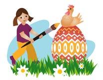 Muchacha que pinta el huevo de Pascua ilustración del vector
