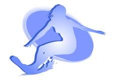 Muchacha que practica surf - icono vectorial coloreado