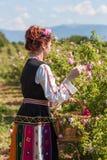 Muchacha que presenta durante el festival de la cosecha de Rose en Bulgaria Imágenes de archivo libres de regalías