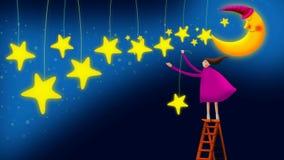 Muchacha que recoge las estrellas en el cielo, fondo video del lazo para las nanas libre illustration
