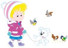 Muchacha que recorre con su perro stock de ilustración