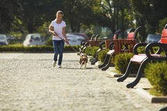 Muchacha que recorre con un perro Imagenes de archivo