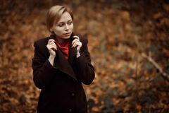 Muchacha que recorre en parque del otoño El sentarse en un árbol Muchacha en la madera Imagen de archivo libre de regalías