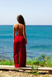 Muchacha que se coloca con las tetas al aire en falda roja sobre la mirada del mar Imagen de archivo libre de regalías