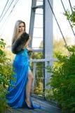 muchacha que se coloca en el puente en el parque. Fotografía de archivo
