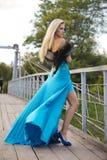 muchacha que se coloca en el puente en el parque. Imagen de archivo libre de regalías