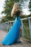 muchacha que se coloca en el puente en el parque. Imágenes de archivo libres de regalías