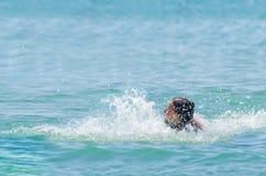 Muchacha que se divierte en el océano Imágenes de archivo libres de regalías