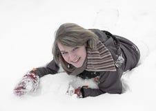 Muchacha que se divierte en la nieve Fotografía de archivo libre de regalías